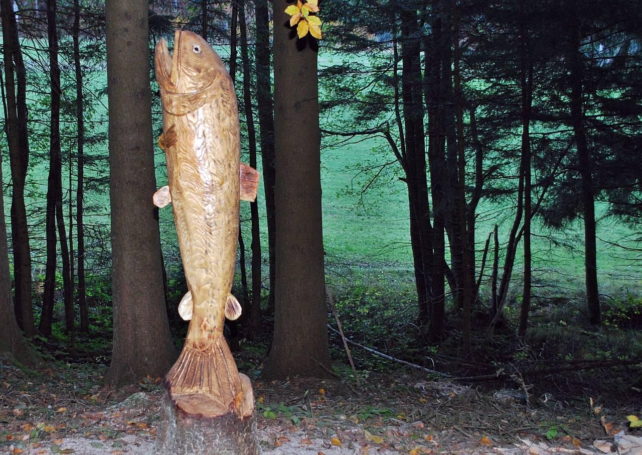 Holzkunstwerk fisch im hausruckwald for Fisch bilder